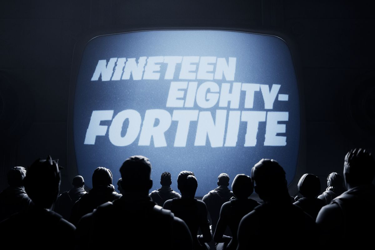 A TV screen that reads Nineteen Eighty-Fortnite with Fortnite characters watching