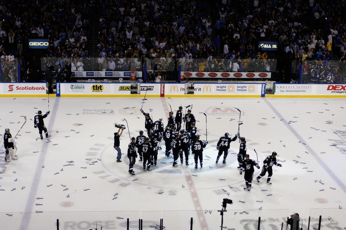 Bolts fans - A win is not a hat trick.  Don't throw your crappy giveaway stuff on the ice.