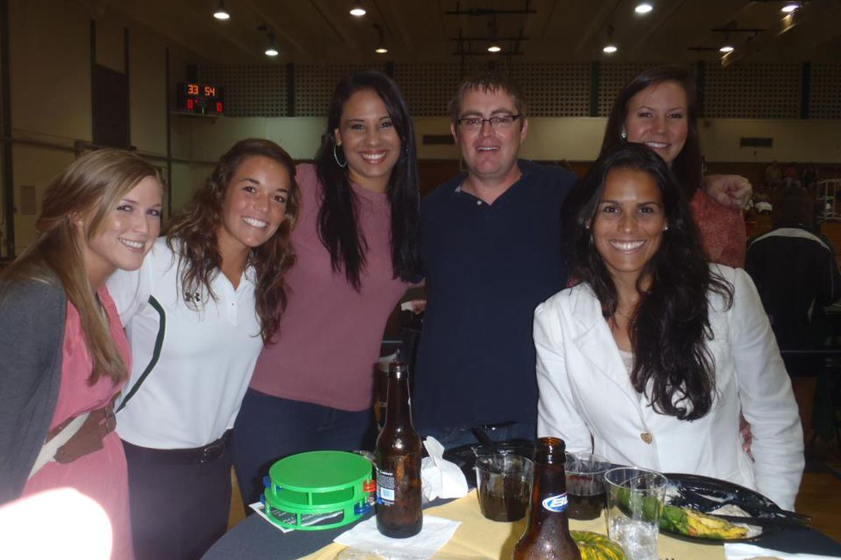 Mari, Britt, Marcela, That Guy, Boaz, and Juju at the volleyball team reunion last year. They win on looks, but I win on highest BAC.