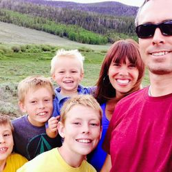 Brooke Romney, second from right, poses with her husband and four sons.
