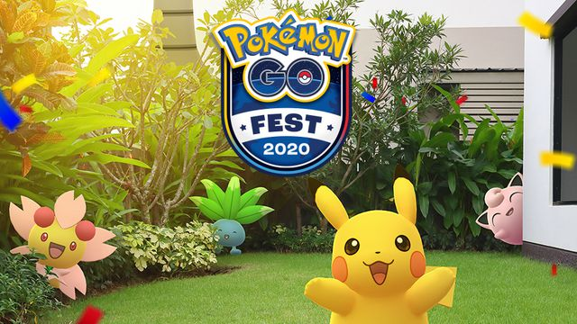 Artwork for Pokemon Go Fest 2020 featuring Pikachu, Oddish, Cherrim, and Jigglypuff