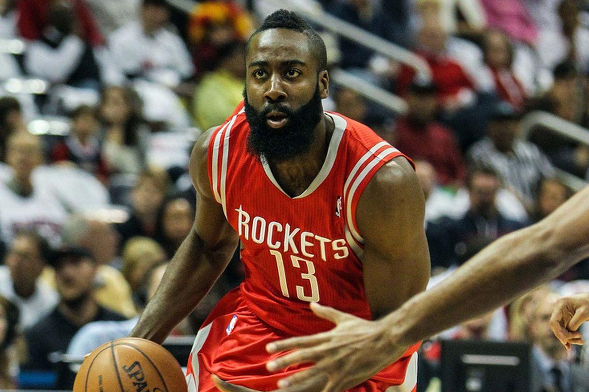 Nov 2, 2012; Atlanta, GA, USA; Houston Rockets shooting guard James Harden (13) drives to the basket in the first half against the Atlanta Hawks at Philips Arena.