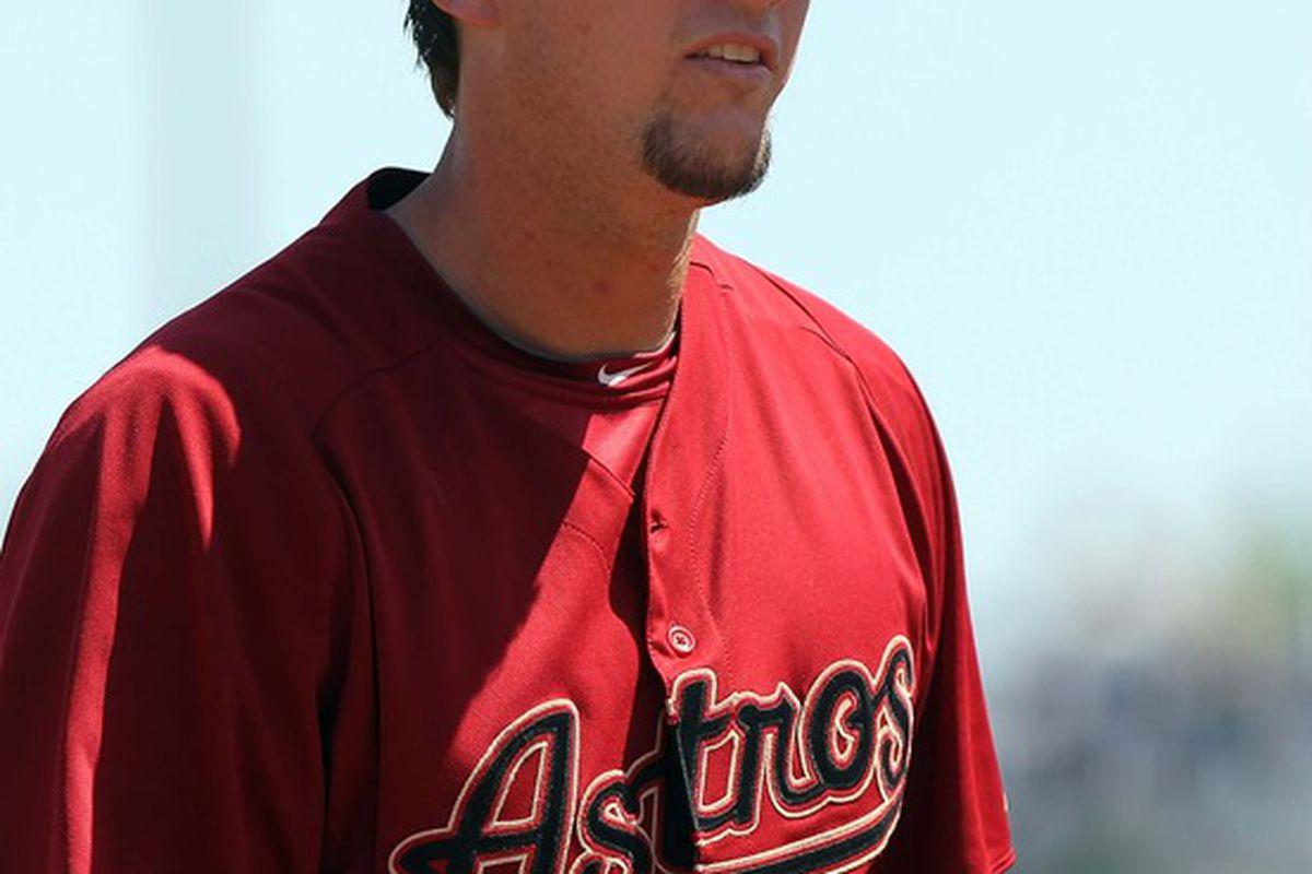 March 17, 2012; Tampa, FL, USA; Houston Astros third baseman Chris Johnson (23) against the New York Yankees at George M. Steinbrenner Field. Mandatory Credit: Kim Klement-US PRESSWIRE