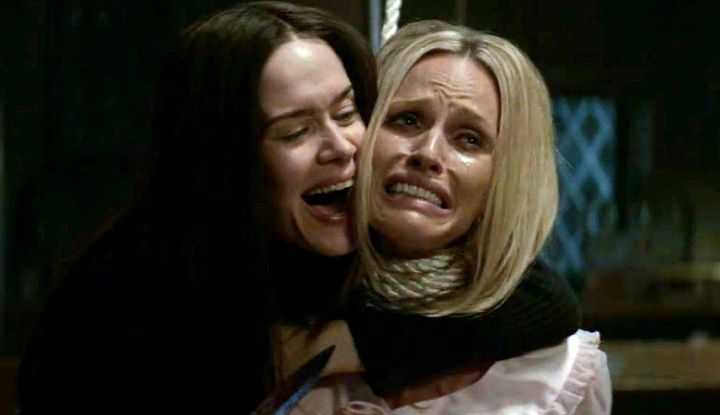 "Sarah Paulson as one of the Manson girls and Rachel Roberts as Sharon Tate in American Horror Story: Cult's episode entitled ""Charles in Charge."""
