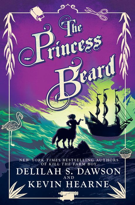 the cover of The Princess Beard; the text is in elaborate characters against a purple sky, above a green sea. a ship is in the distance, a female centaur standing out in the foreground. a cream-colored border surrounds the entire cover