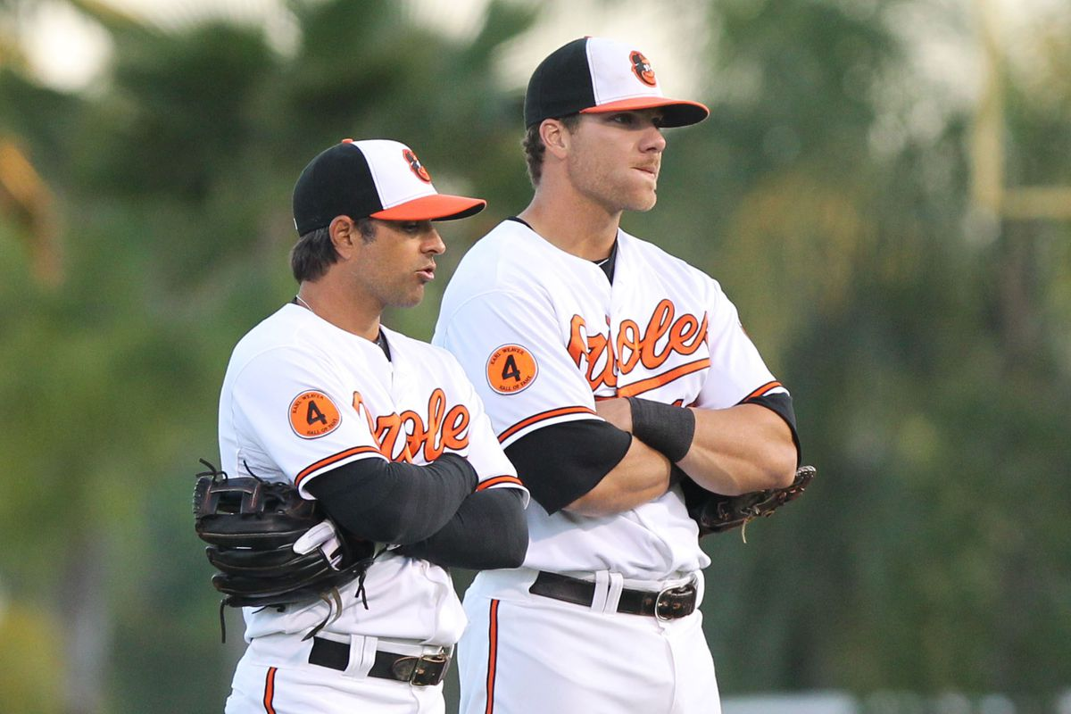 On today's Bird Droppings: Is Chris Davis twice the size of Brian Roberts?