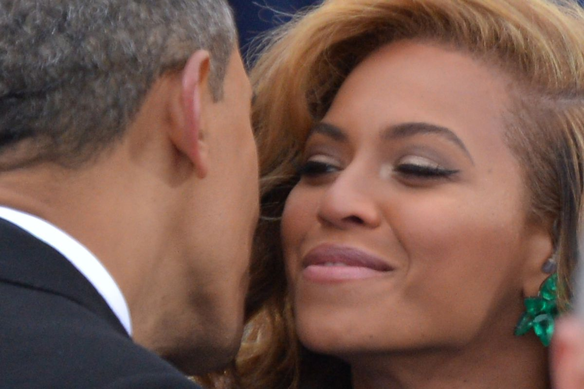 President Barack Obama greets singer Beyonce during the 57th Presidential Inauguration ceremonial swearing-in at the US Capitol on January 21, 2013 in Washington, DC.