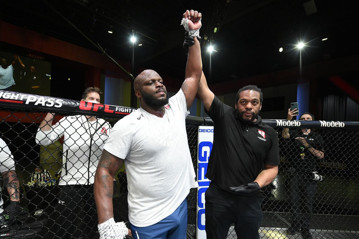 In this UFC handout, Derrick Lewis reacts after his knockout victory over Curtis Blaydes in a heavyweight bout during the UFC Fight Night event at UFC APEX on February 20, 2021 in Las Vegas, Nevada.