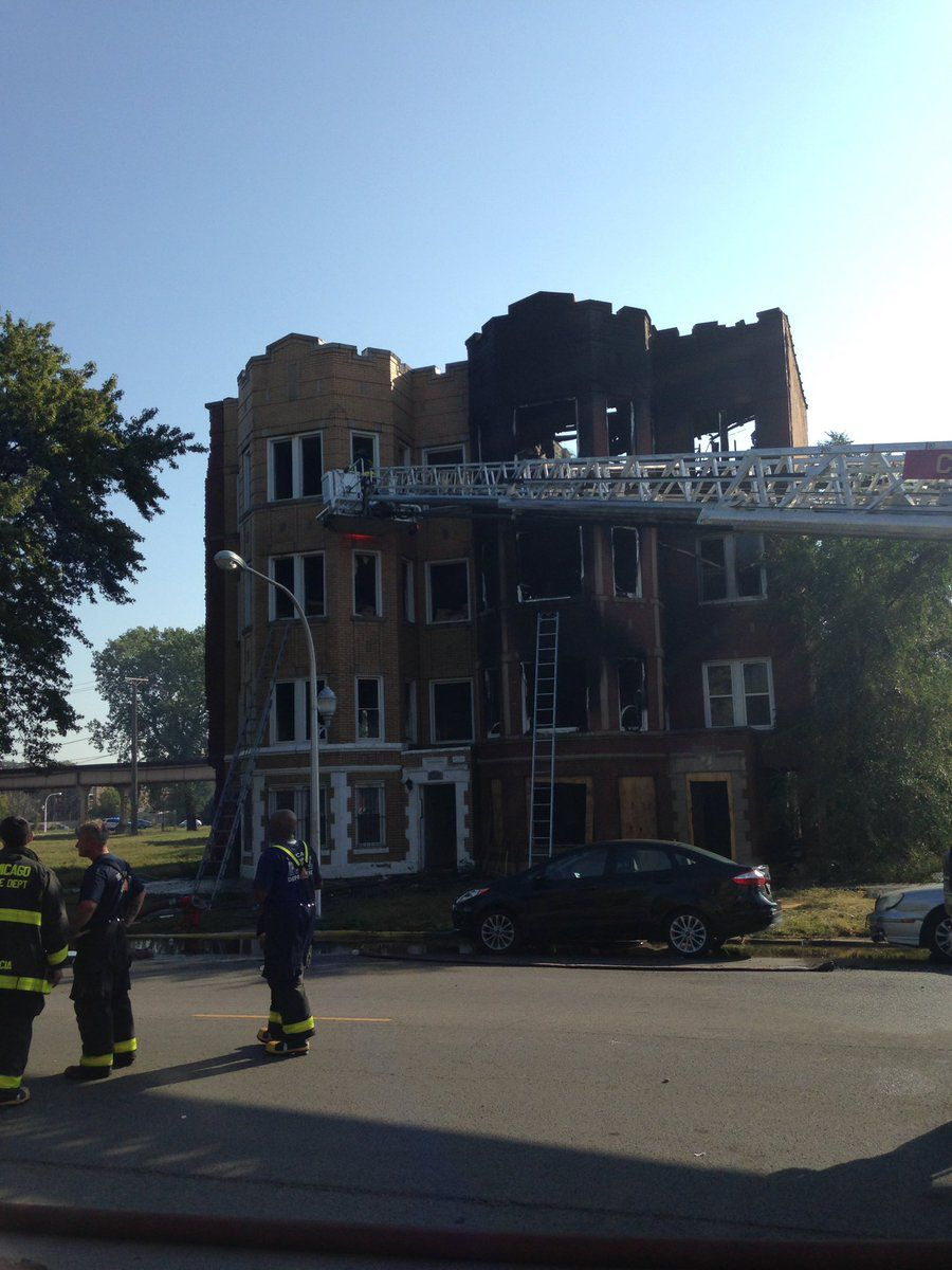 A two-alarm fire damaged two buildings and displaced multiple residents Saturday morning in Washington Park.   Fire Media Affairs