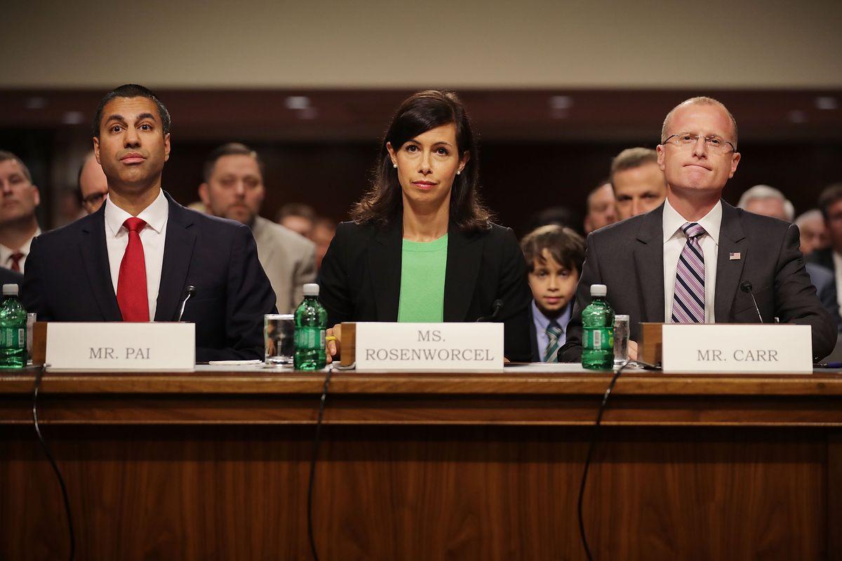 FCC Chairman Ajit Pai, Jessica Rosenworcel and Brendan Carrsit to testify at a Senate hearing.