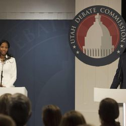 Mia Love and Doug Owens debate at the Dolores Doré Eccles Broadcast Center on the University of Utah campus in Salt Lake City on Tuesday, Oct. 14, 2014.