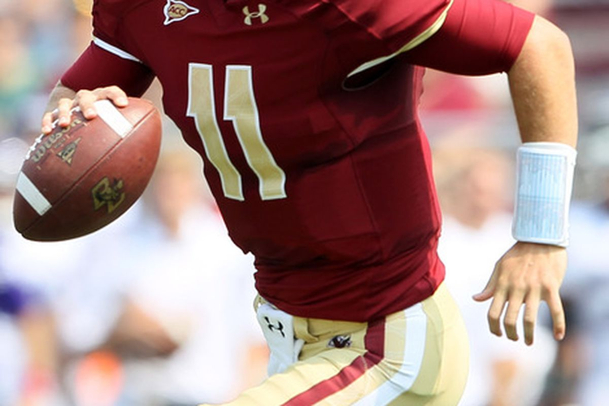 CHESTNUT HILL, MA - SEPTEMBER 03:  Chase Rettig #11 of the Boston College Eagles rolls out in the first quarter against the Northwestern Wildcats on September 3, 2011 at Alumni Stadium in Chestnut Hill, Massachusetts.  (Photo by Elsa/Getty Images)