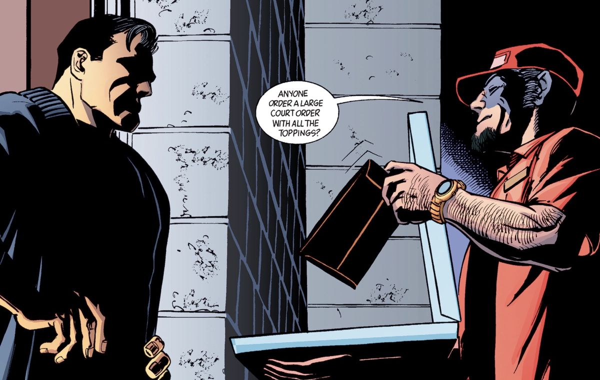 A process server, disguised as a pizza delivery man, serves Bruce Wayne a court order at the doorway of Wayne Manor, in Gotham Knights #43, DC Comics (2003).