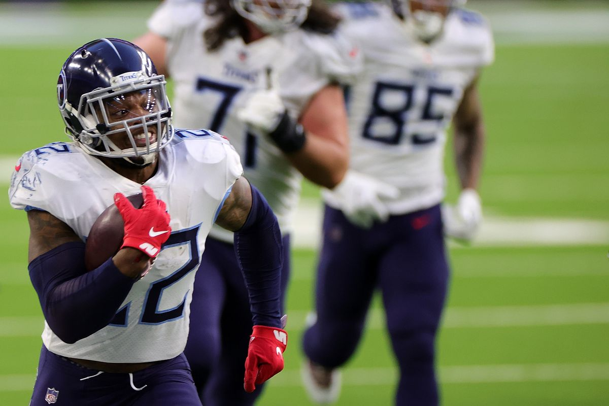 Derrick Henry #22 of the Tennessee Titans runs for yards during the second half of a game against the Houston Texans at NRG Stadium on January 03, 2021 in Houston, Texas.