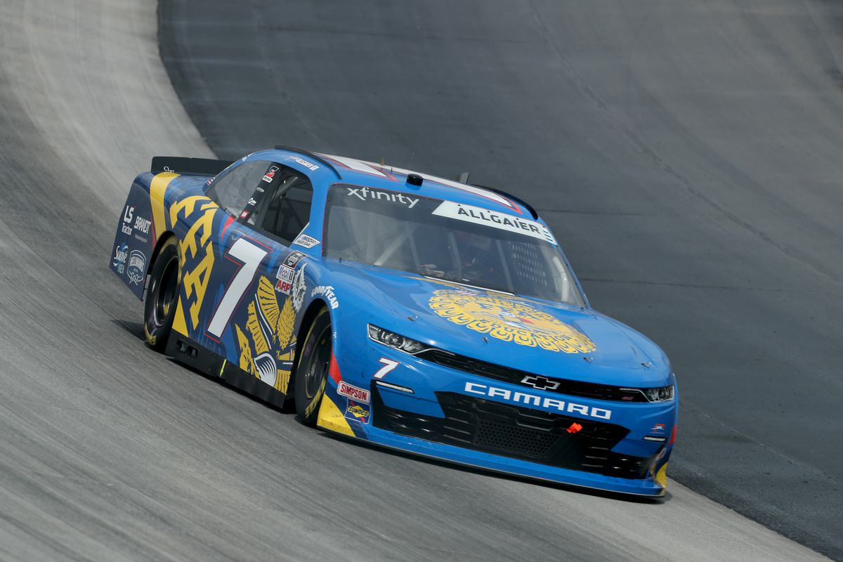 Justin Allgaier, driver of the #7 FFA Chevrolet, drives during the NASCAR Xfinity Series Drydene 200 at Dover International Speedway on August 22, 2020 in Dover, Delaware.