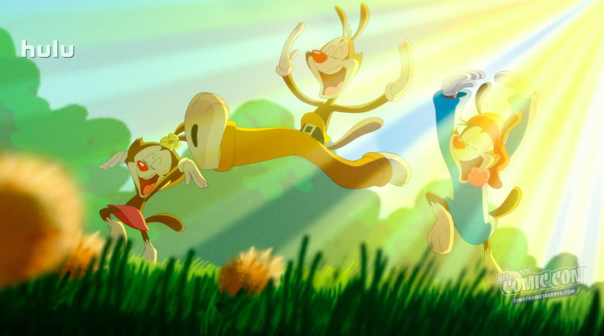Dot, Yakko, and Wakko prance around in the golden sunlight in Animaniacs