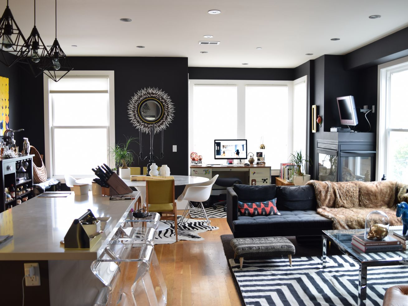 A condo painted with Black Beauty by Benjamin Moore.