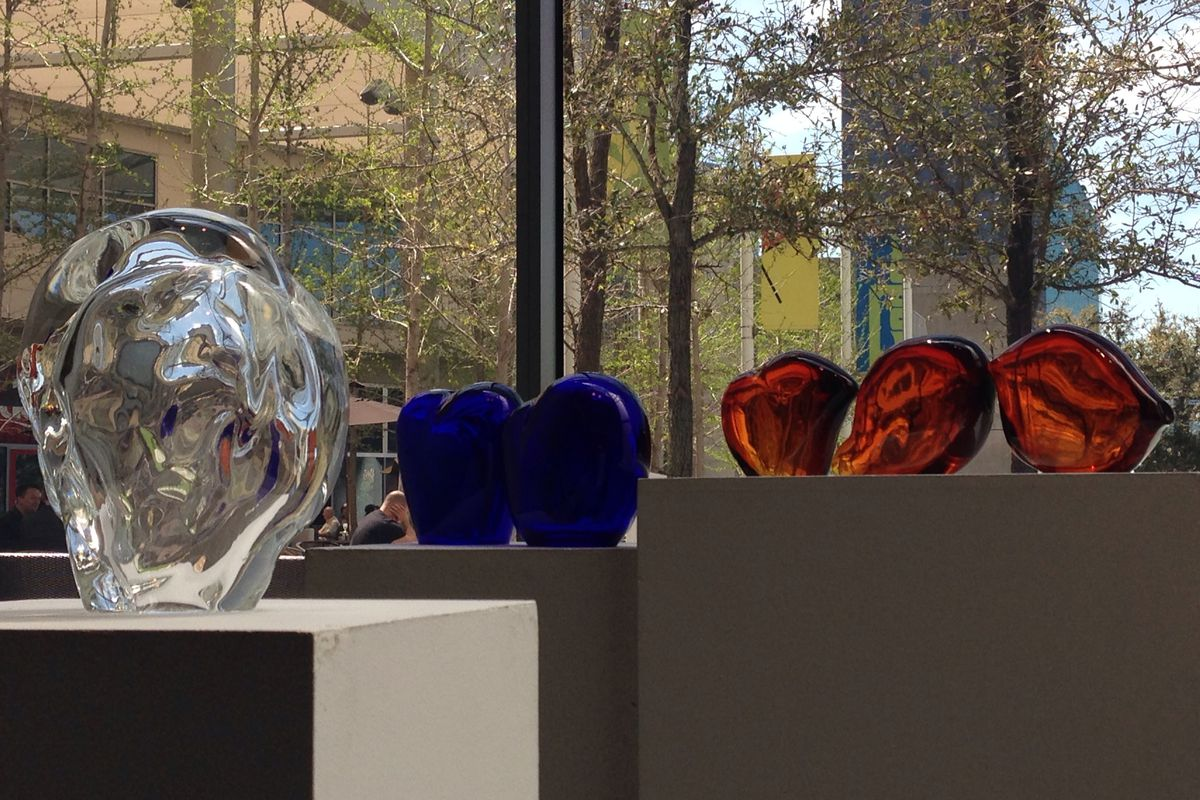Twelve new glass sculptures add dimension to the lobby at One Arts Plaza. Image via One Arts Plaza