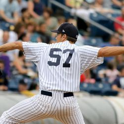 Staten Island Yankees pitcher Kolton Mahoney #57 in action, pitching against the State College Spikes during a minor league baseball game in Staten Island, NY on Sunday, June 28, 2015.  (AP Photo/Gregory Payan)