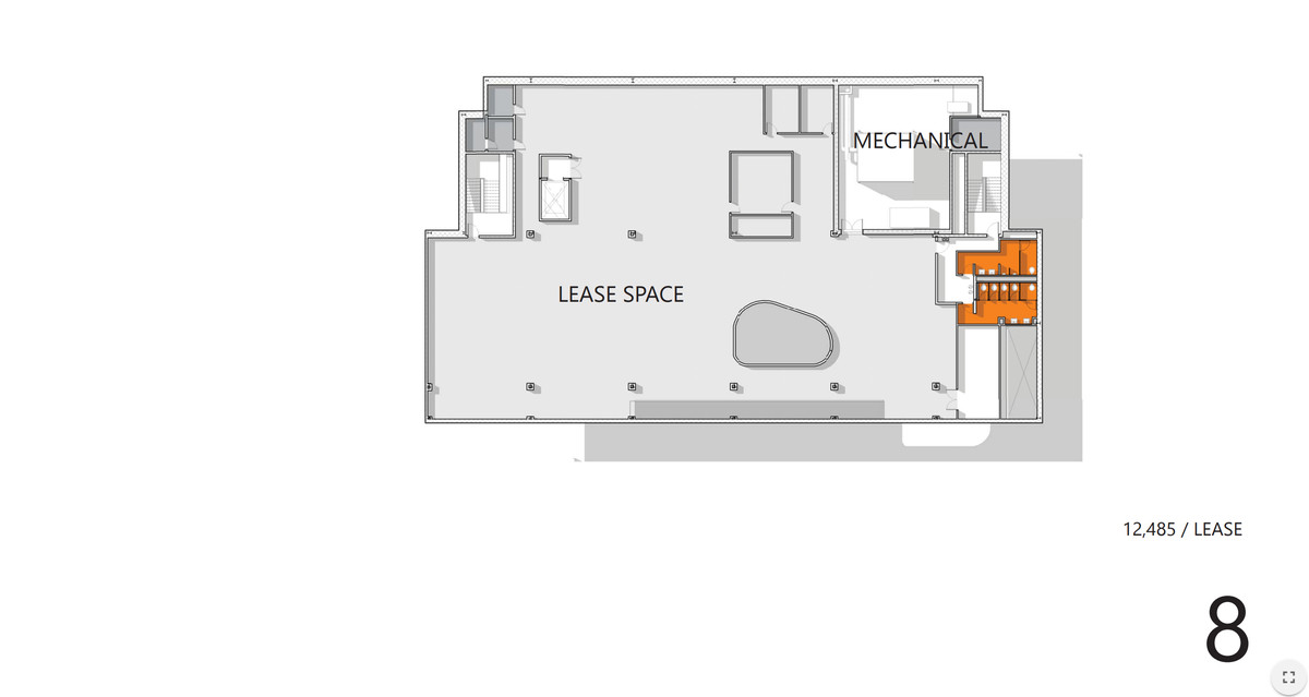 A blueprint of the 8th floor in the redesigned library