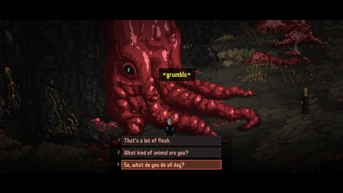 Death Trash - the player talks to the Fleshkraken, a huge red beast made of blood.  The player asks him: