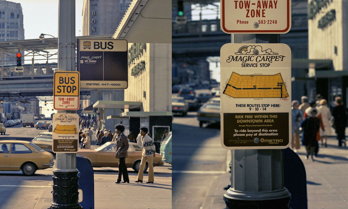 """Two side-by-side images of a bus stop. To the left, a pole that says """"Bus Stop"""" on a yellow sign, with a sign up and to the right with routes and another sign below. To the right is a detail on the lower sign: """"Magic Carpet Service Stop."""""""