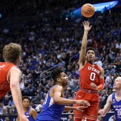 Utah Utes guard Sedrick Barefield (0) puts up a shot during the game against the Brigham Young Cougars at the Marriott Center in Provo on Saturday, Dec. 16, 2017.