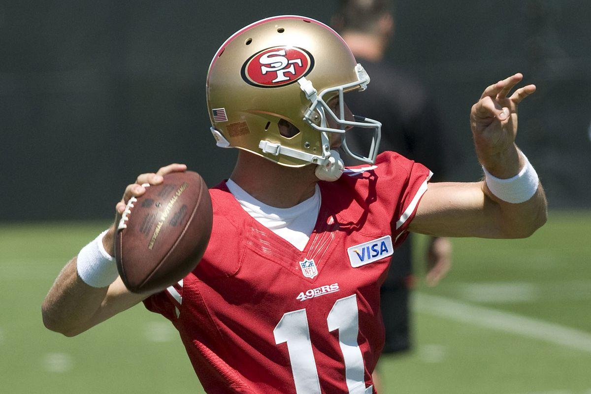 July 27, 2012; Santa Clara, CA, USA; San Francisco 49ers quarterback Alex Smith (11) throws a pass during training camp at the 49ers practice facility.  Mandatory Credit: Ed Szczepanski-US PRESSWIRE