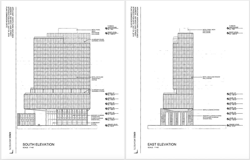 Black and white elevation diagrams showing a 265-foot-tall rectangular tower with a masonry base and a metal and glass window wall system.