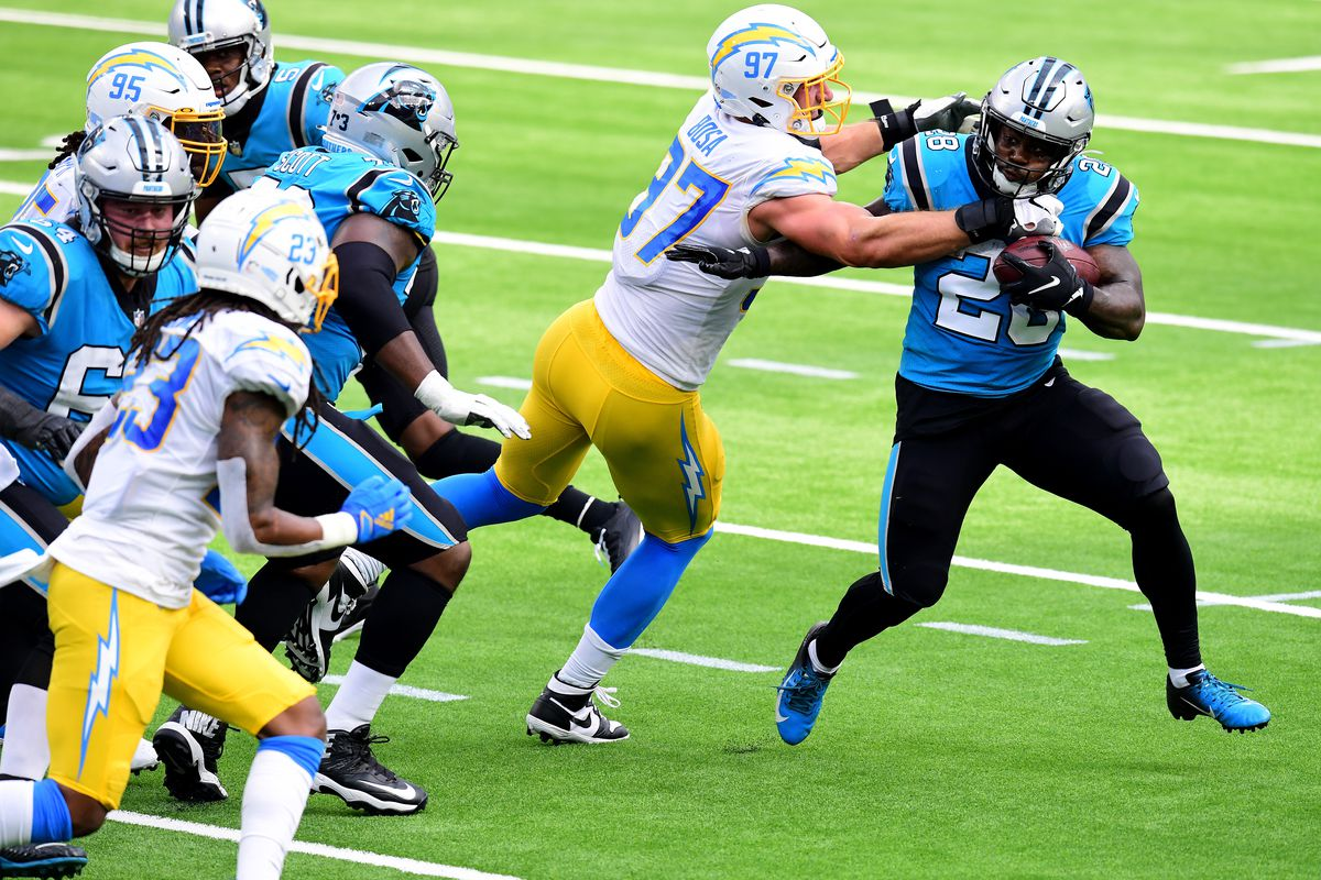 Panthers running back Mike Davis runs against the Chargers last month.