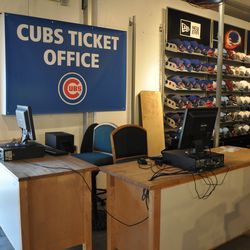 Ticketing area set up inside the Cubs Store -