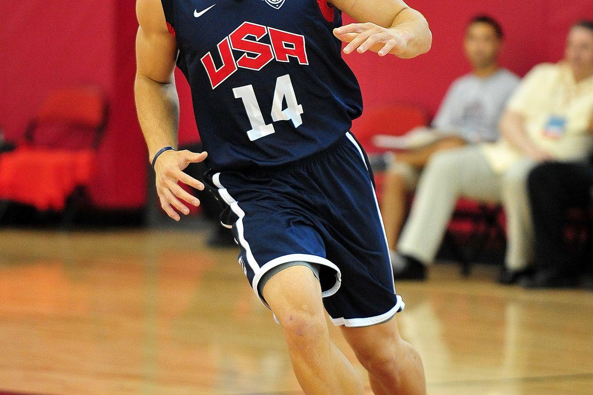 July 11, 2012; Las Vegas, NV, USA; Team USA forward Blake Griffin  during practice at the UNLV Mendenhall Center. Mandatory Credit: Gary A. Vasquez-US PRESSWIRE