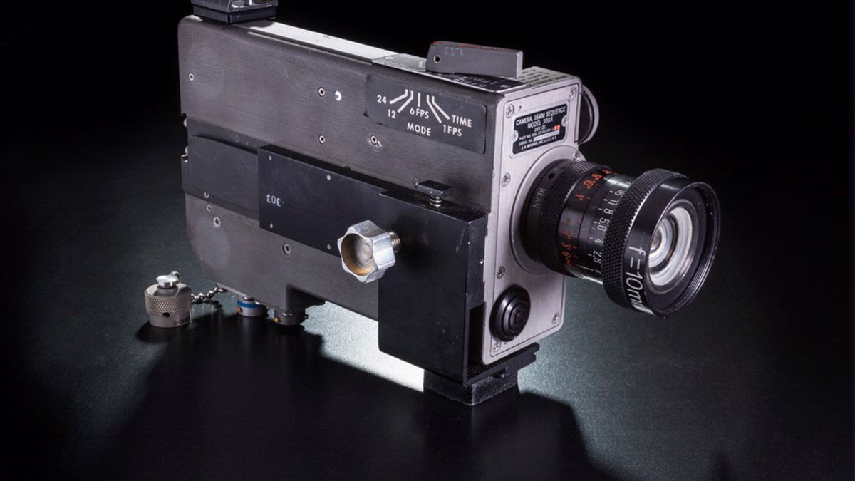 A never-before-seen 16mm Data Acquisition Camera used on the Apollo 11 missions.