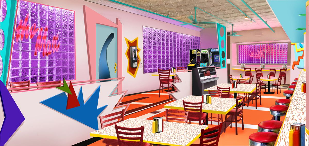 An artist's rendering of the interior of Saved by the Max pop-up diner in Chicago. | SUPPLIED PHOTO