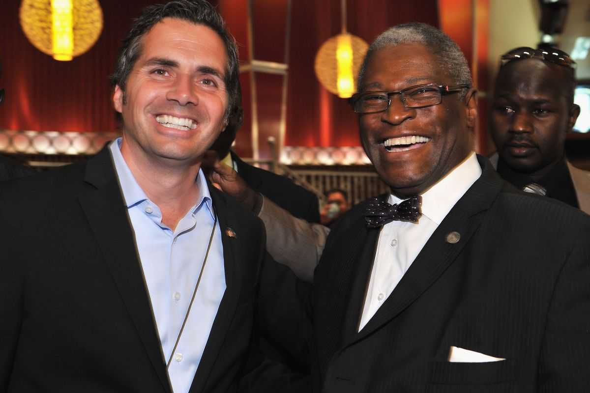 Greg Orman with Kansas City Mayor Sly James
