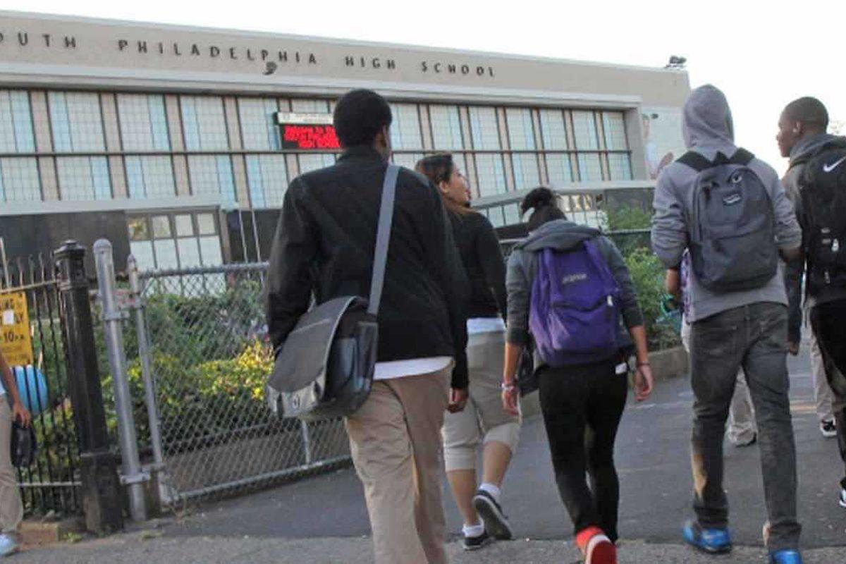 Students outside South Philadelphia High School.