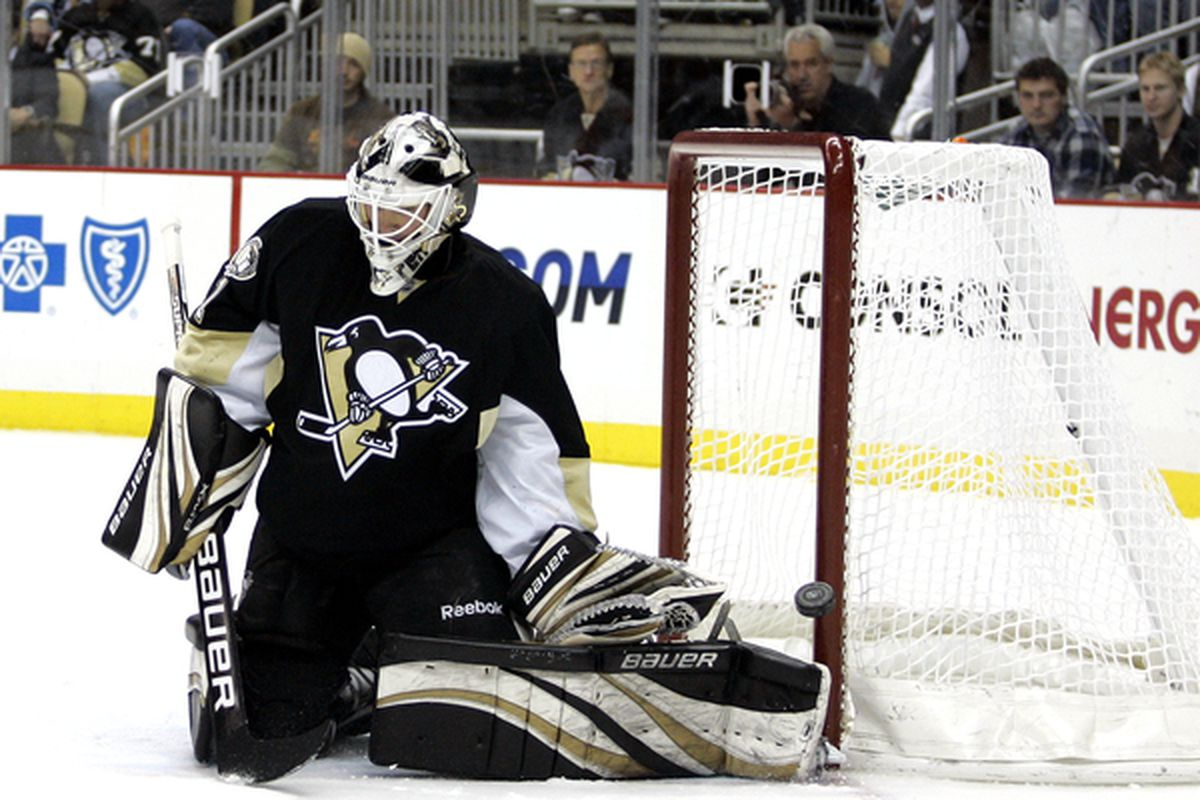 PITTSBURGH PA - DECEMBER 22:  Brent Johnson #1 of the Pittsburgh Penguins makes a save against the Florida Panthers at Consol Energy Center on December 22 2010 in Pittsburgh Pennsylvania.  (Photo by Justin K. Aller/Getty Images)