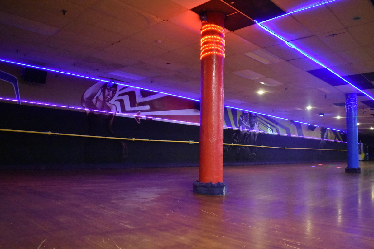 An empty roller skating rink in Boston