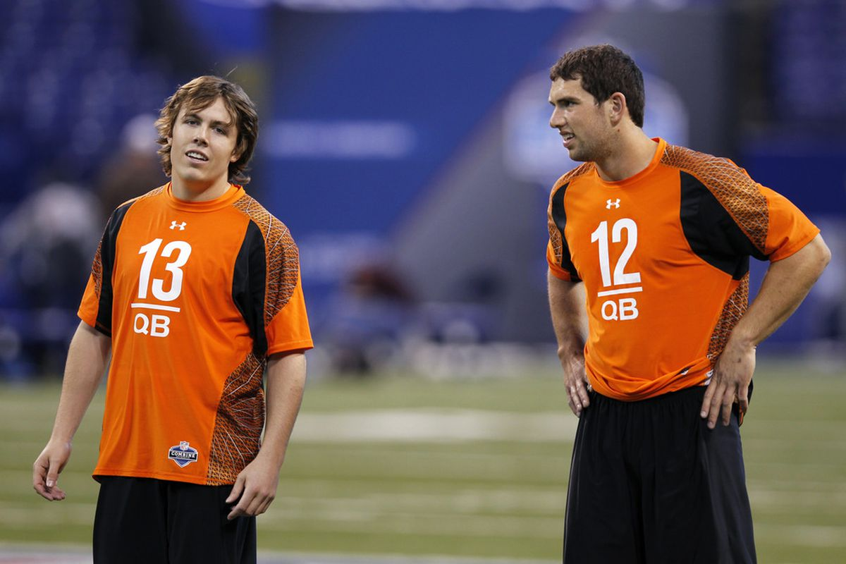 INDIANAPOLIS, IN - FEBRUARY 26: Quarterbacks Kellen Moore (left) of Boise State and Andrew Luck of Stanford look on during the 2012 NFL Combine at Lucas Oil Stadium on February 26, 2012 in Indianapolis, Indiana. (Photo by Joe Robbins/Getty Images)