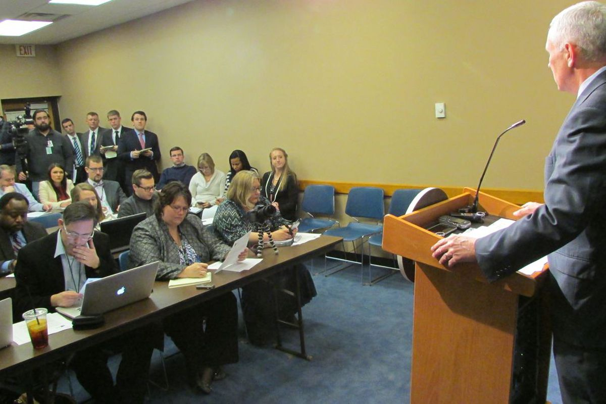 Gov. Mike Pence held his second press conference this week on ISTEP today at the Statehouse.