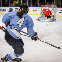 Buffalo Beauts defender Colleen Murphy puts a shot on net during a NWHL exhibition game versus Team China on Oct. 9, 2017 at HarborCenter in Buffalo, NY.