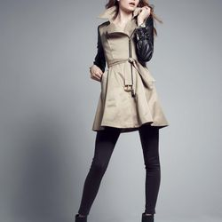Asymmetrical color-blocked coat with belt and faux-leather sleeves, polyester, khaki, $119.90 after sale $198