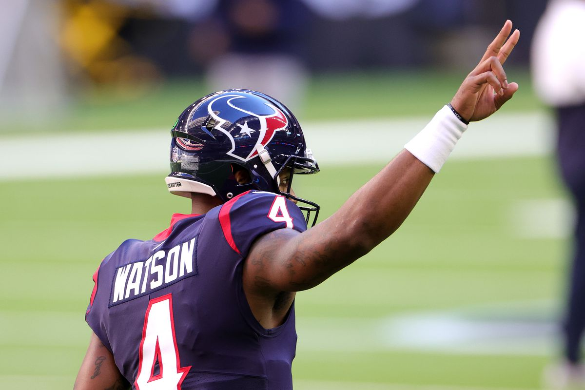 Deshaun Watson #4 of the Houston Texans in action against the Tennessee Titans during a game at NRG Stadium on January 03, 2021 in Houston, Texas.
