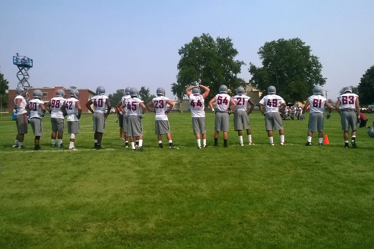 Defensive payers line up on the sideline for Day of WSU's fall camp
