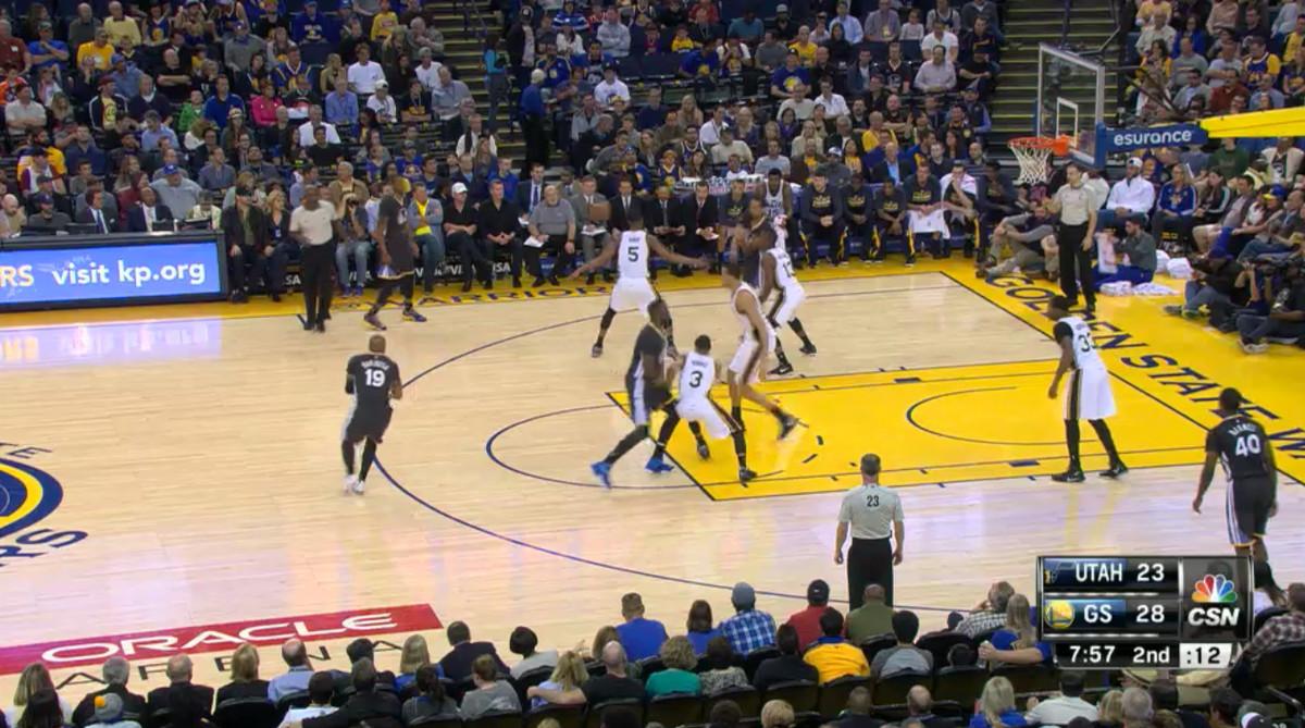Utah Jazz defending Livingston