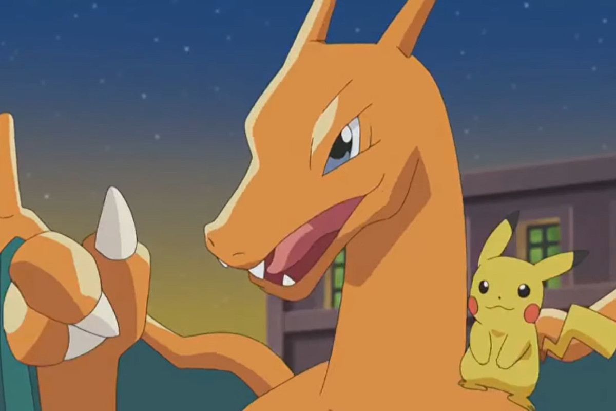 Charizard giving a thumbs up with a pikachu on its shoulder