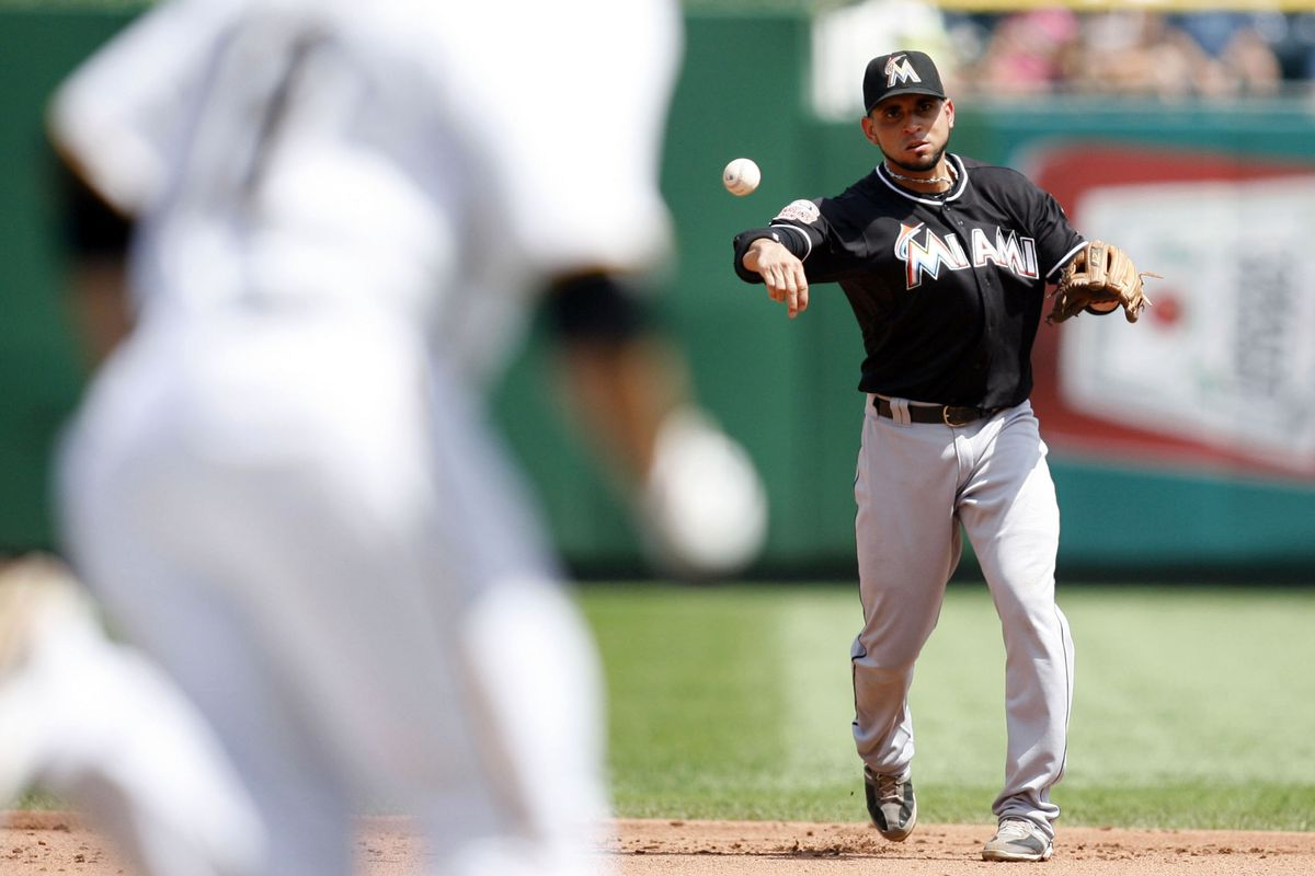 How will the Miami Marlins fill the gap at second base left by the defensively talented Omar Infante? Mandatory Credit: Charles LeClaire-US PRESSWIRE