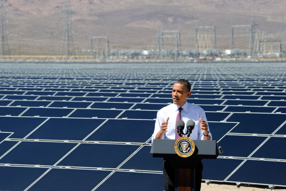 President Barack Obama speaks at Sempra US Gas & Power's Copper Mountain Solar 1 facility, the largest photovoltaic solar plant in the United States, on March 21, 2012, in Boulder City, Nevada.