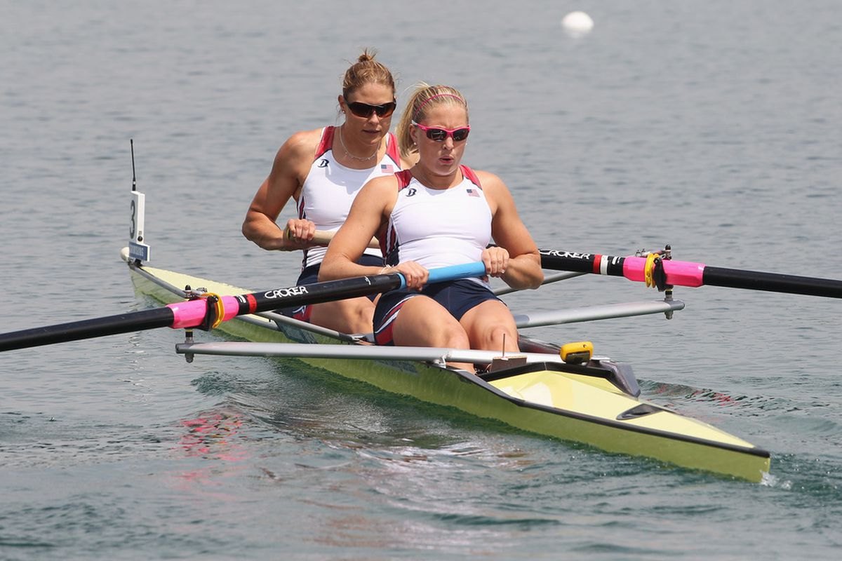 MUNICH, GERMANY - MAY 28:  Meghan Musnicki (L) and Zsuzsanna Francia from the U.S. row in the women's pair semifinal race at the Rowing World Cup on May 28, 2011 in Munich, Germany.  (Photo by Alexandra Beier/Bongarts/Getty Images)