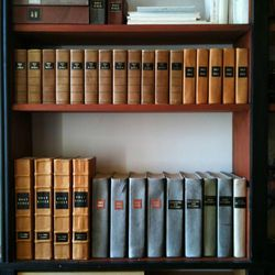 Replica copies of the first edition copies of the Book of Mormon at the Grandin Building bookshelves in Palmyra, New York.